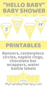 Star Baby Shower Printables. Banners, centerpiece circles, napkin rings, chocolate bar wrappers, water bottle labels.