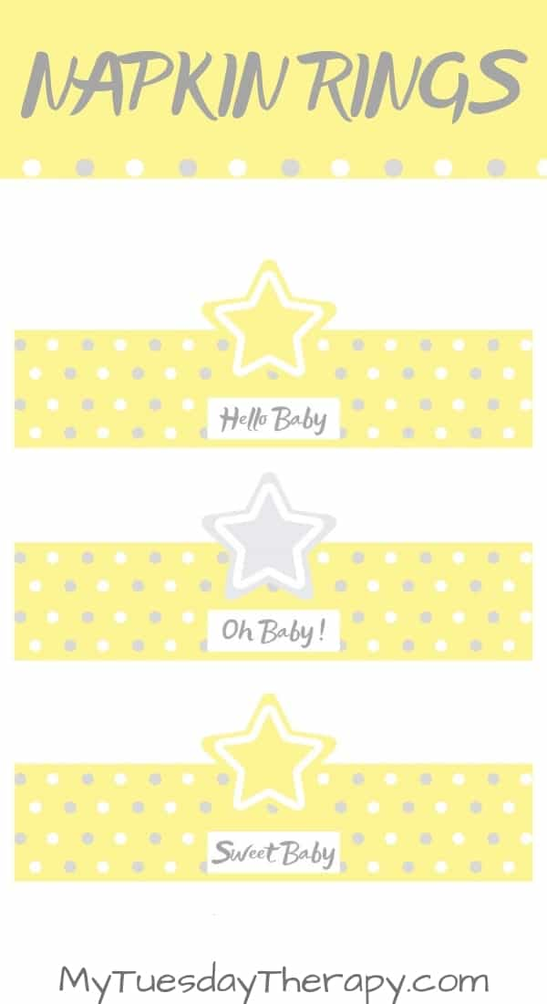 Baby Shower Star Napkin Ring Printable.