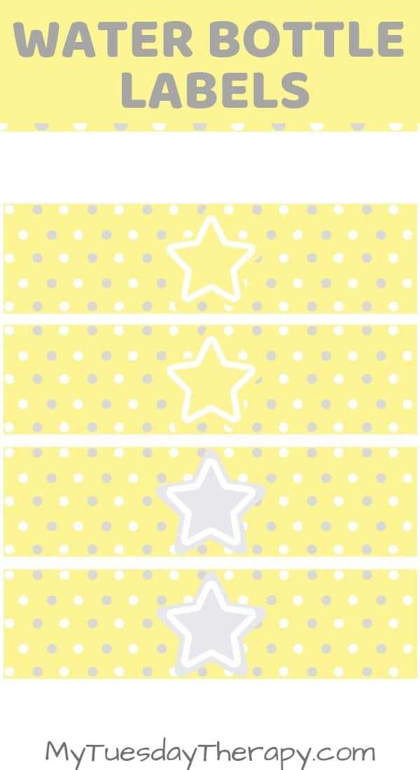 Baby Shower Water Bottle Labels. Star baby shower.