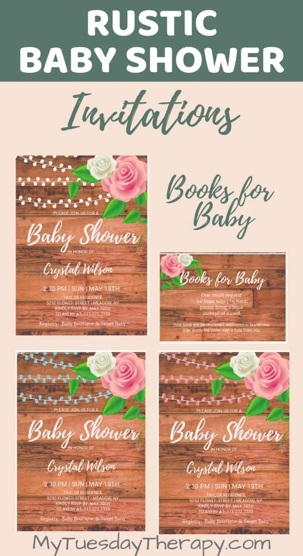 Rustic Baby Shower Invitations and Books For Baby Cards.