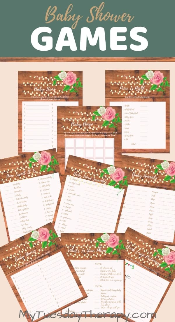 Rustic Baby Shower Game Printables.