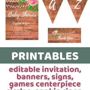 Rustic Baby Shower Printables. Editable baby shower invitation.