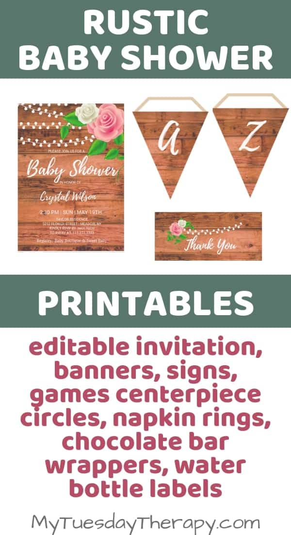 Rustic Baby Shower Printables. Editable baby shower invitation.