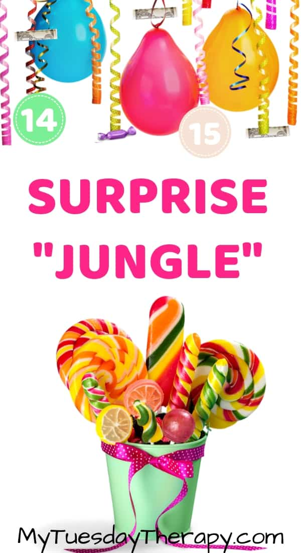 Birthday Ideas For Teenagers: Surprise Jungle of balloons, candy, money etc.