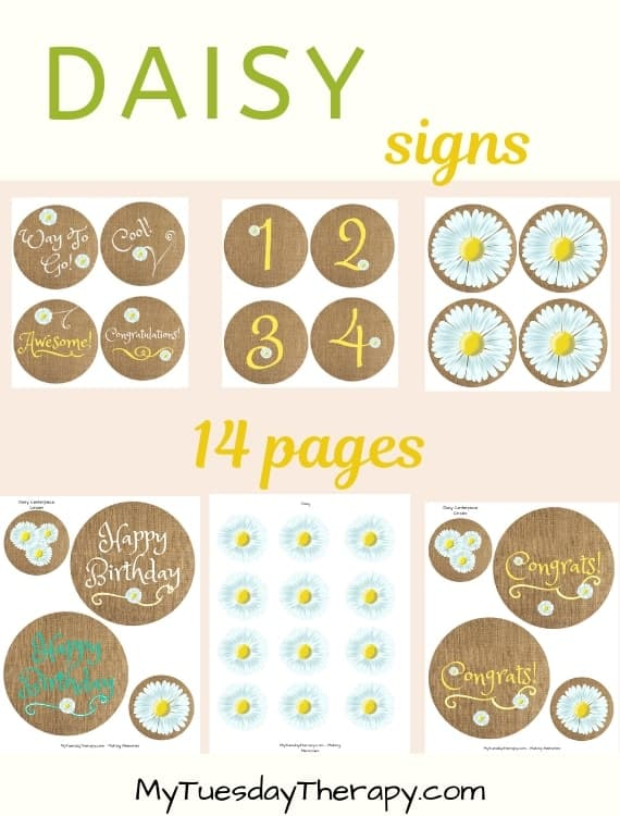 Daisy Centerpiece Circles. Party signs. Party printables.