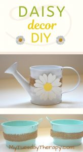 Daisy Spring Decoration Idea for Home or Party. Burlap wrapped around a watering can.