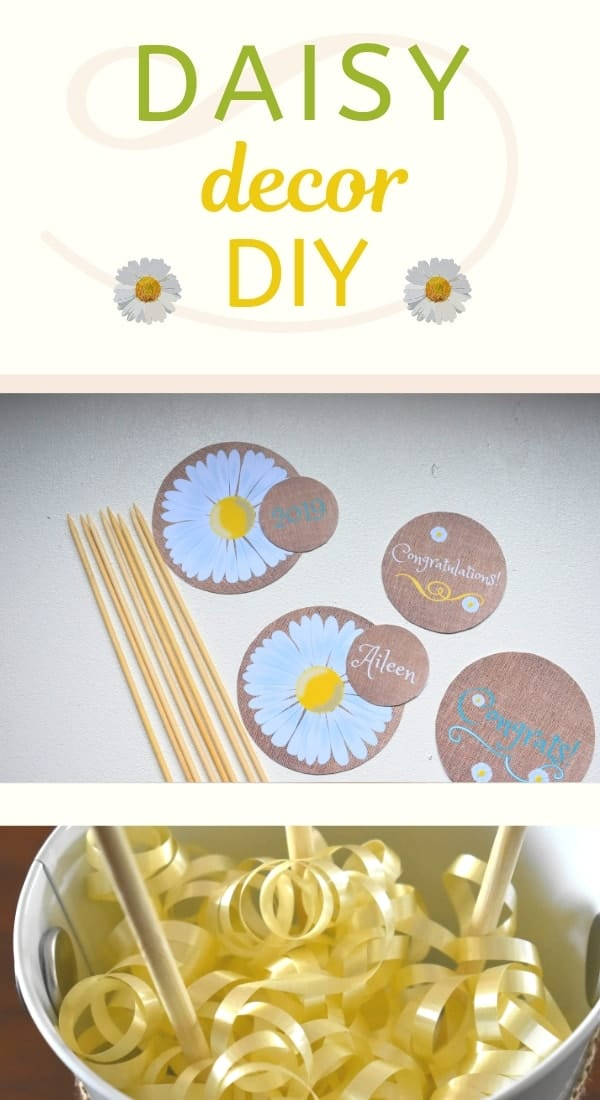 Daisy Centerpiece Circles. Simple daisy decoration idea for party.
