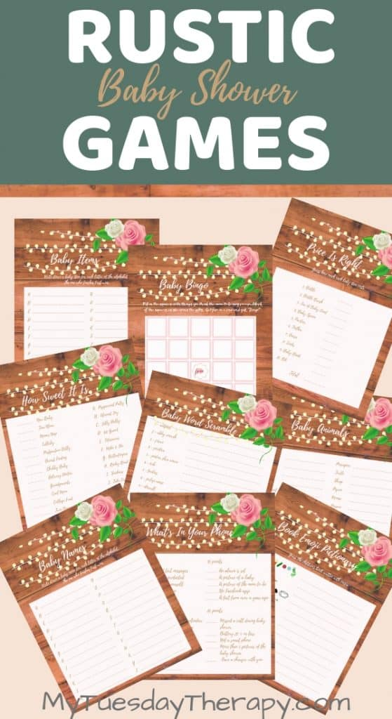 Rustic Baby Shower Game Printables