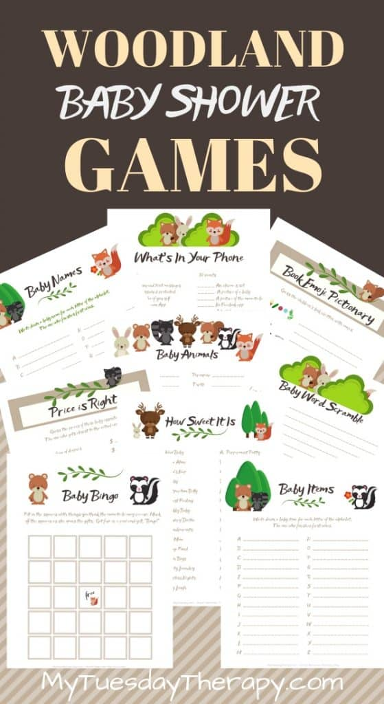 Woodland Baby Shower Game Printables