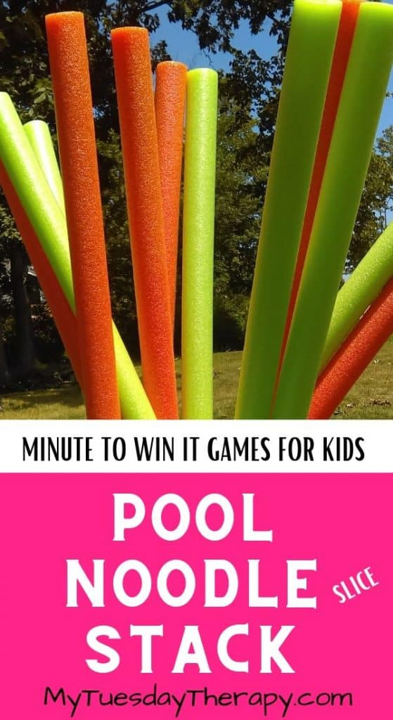Pool Noodle Stack. Easy Minute to Win It Game