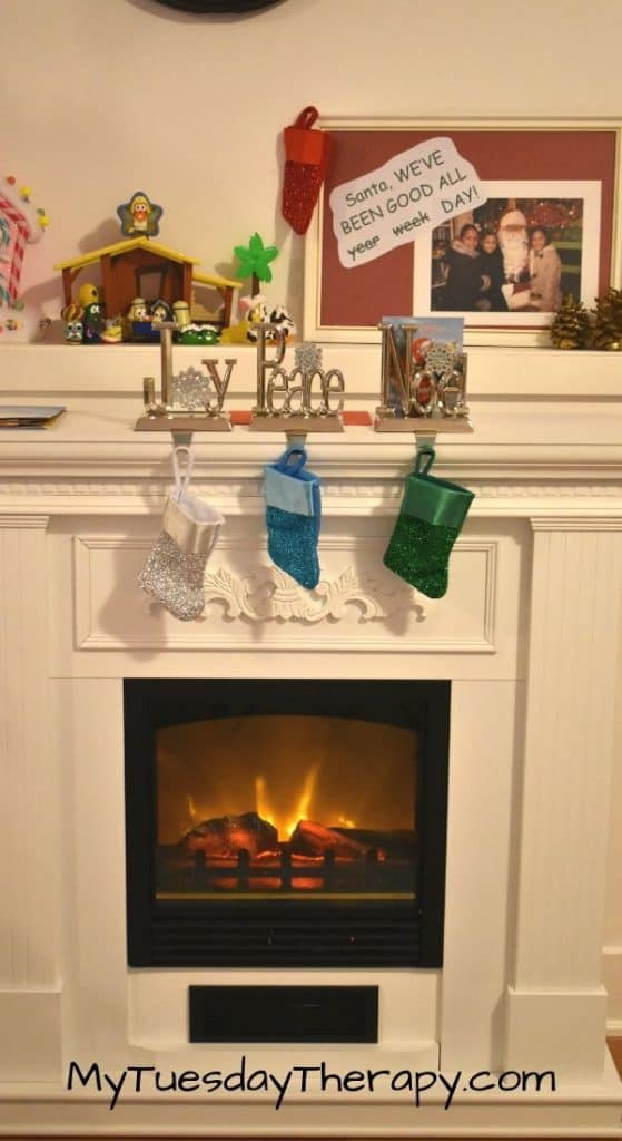 Fireplace with Little Stockings. Advent Calendar.