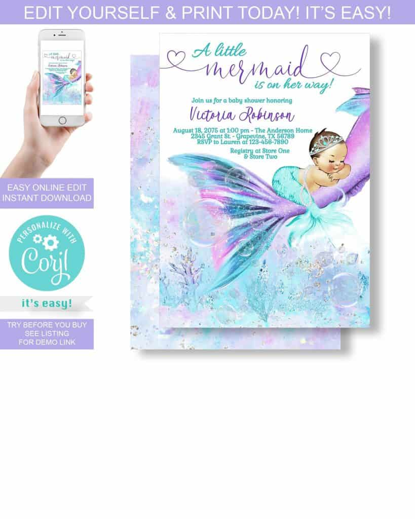 Mermaid Baby Shower Invitation (legend paperie)
