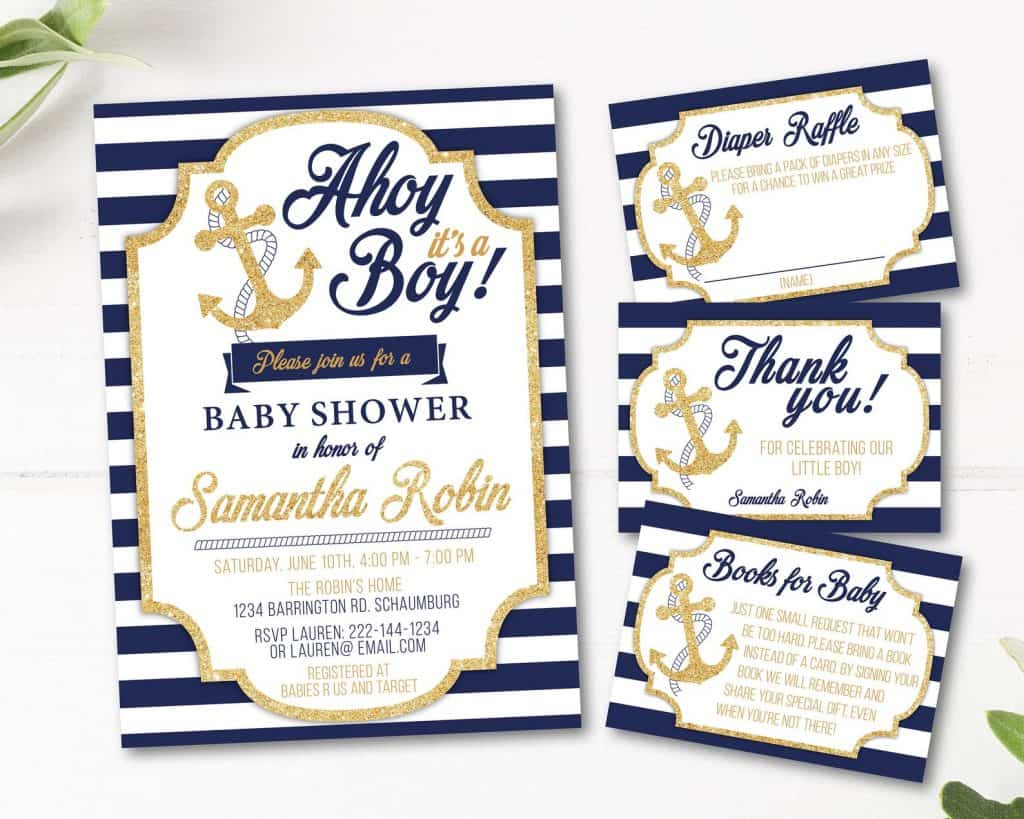 Nautial Baby Shower Invitation For Boys (stickearte)