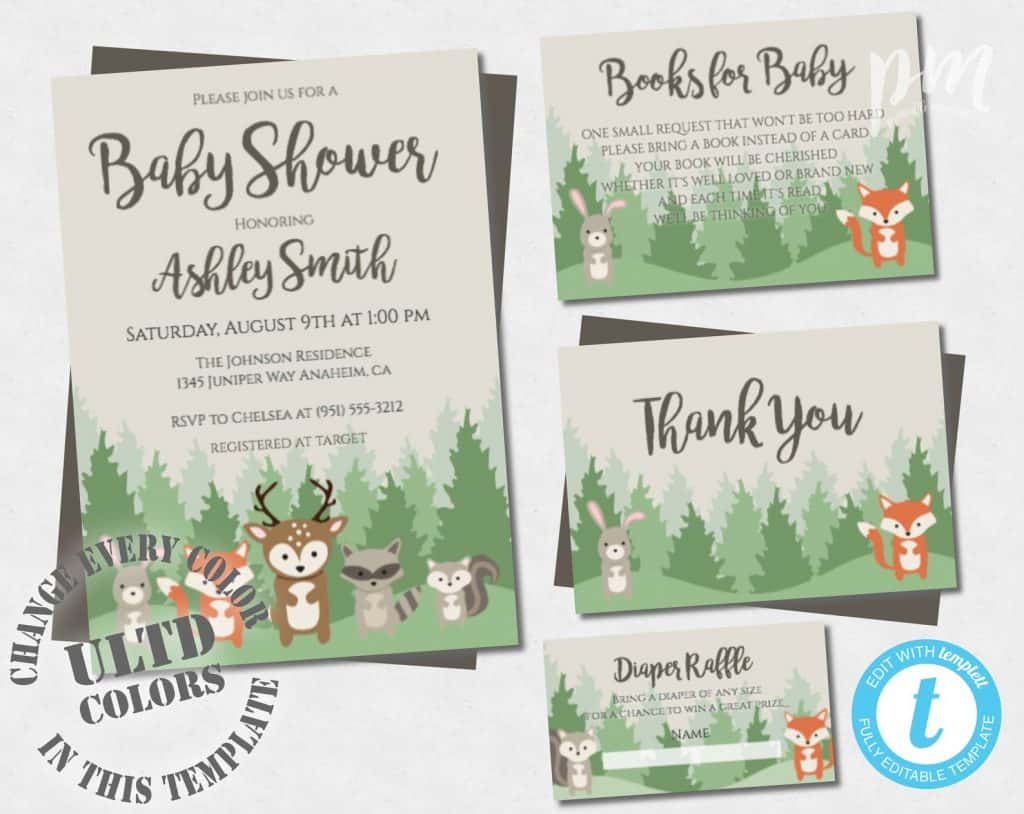 Woodland Baby Shower Invitation (printablemoment)
