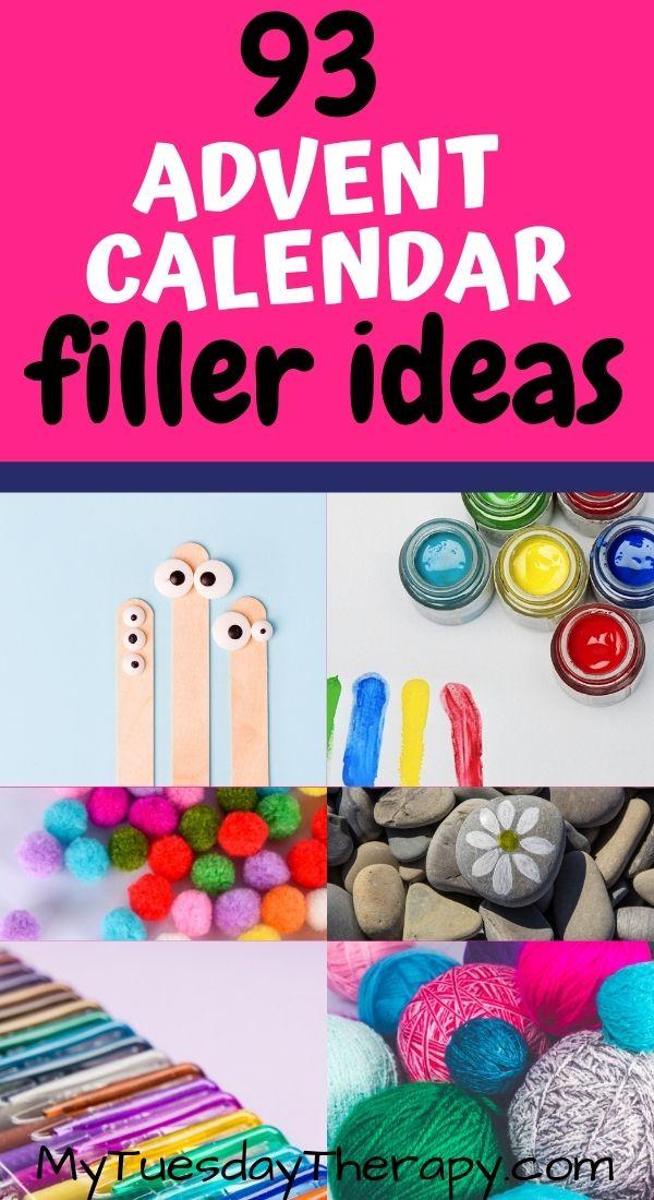 Advent calendar gift ideas for kids: craft items, googly eyes, finger paint, pom poms, rocks for painting, yarn, gel pens