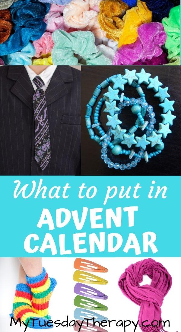Advent calendar gift ideas for kids: scrunchies, necktie, bracelet, socks, hair clips, scarf