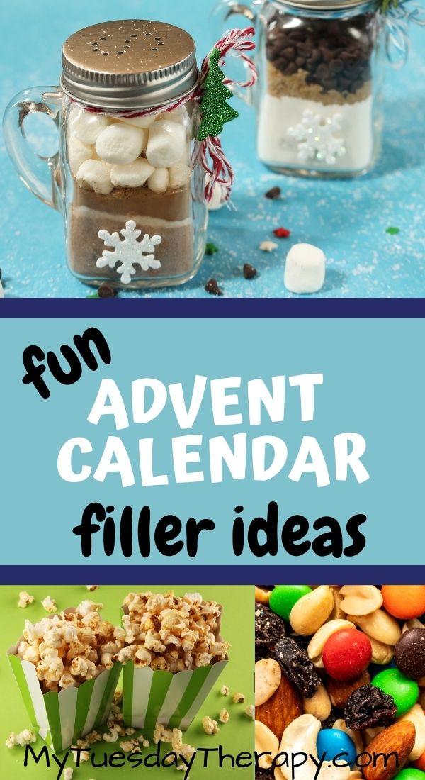 Advent calendar gift ideas: single serving hot chocolate, popcorn, trail mix