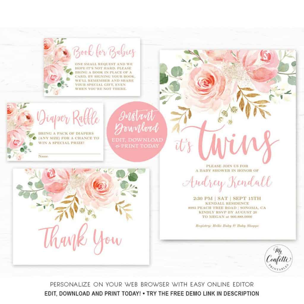 Floral baby shower invitation for twins (myconfettiprintables)