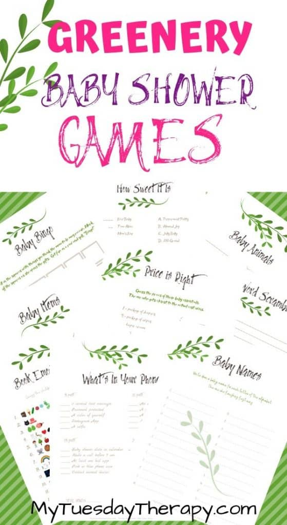 Greenery Baby Shower Games Printable
