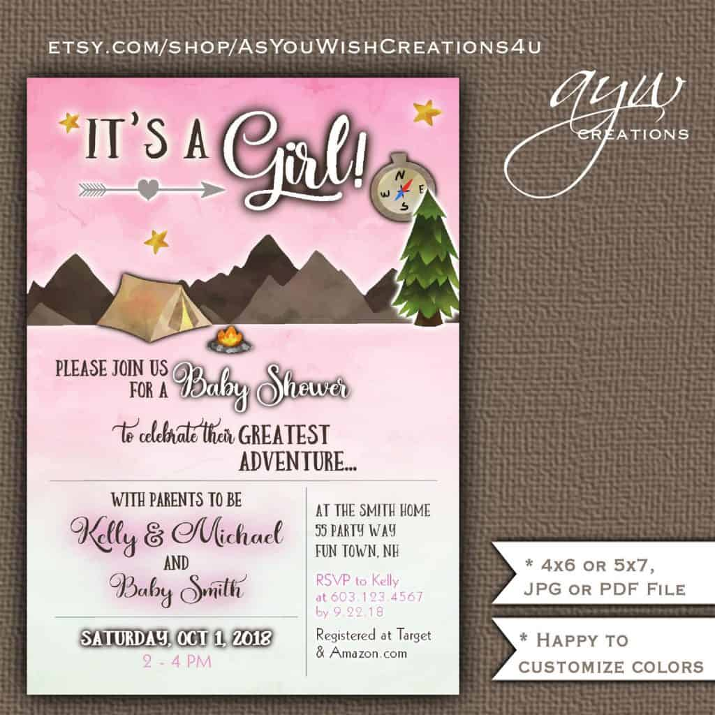 Camping Baby Shower Invitation For Girls (asyouwishcreations4u)