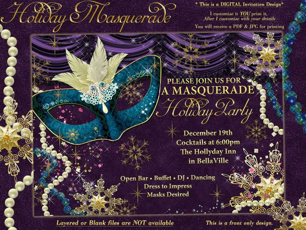 Holiday Maquerade. A stunning Christmas Party Theme for work or home. Masquerade invitation (BellaLuElla)