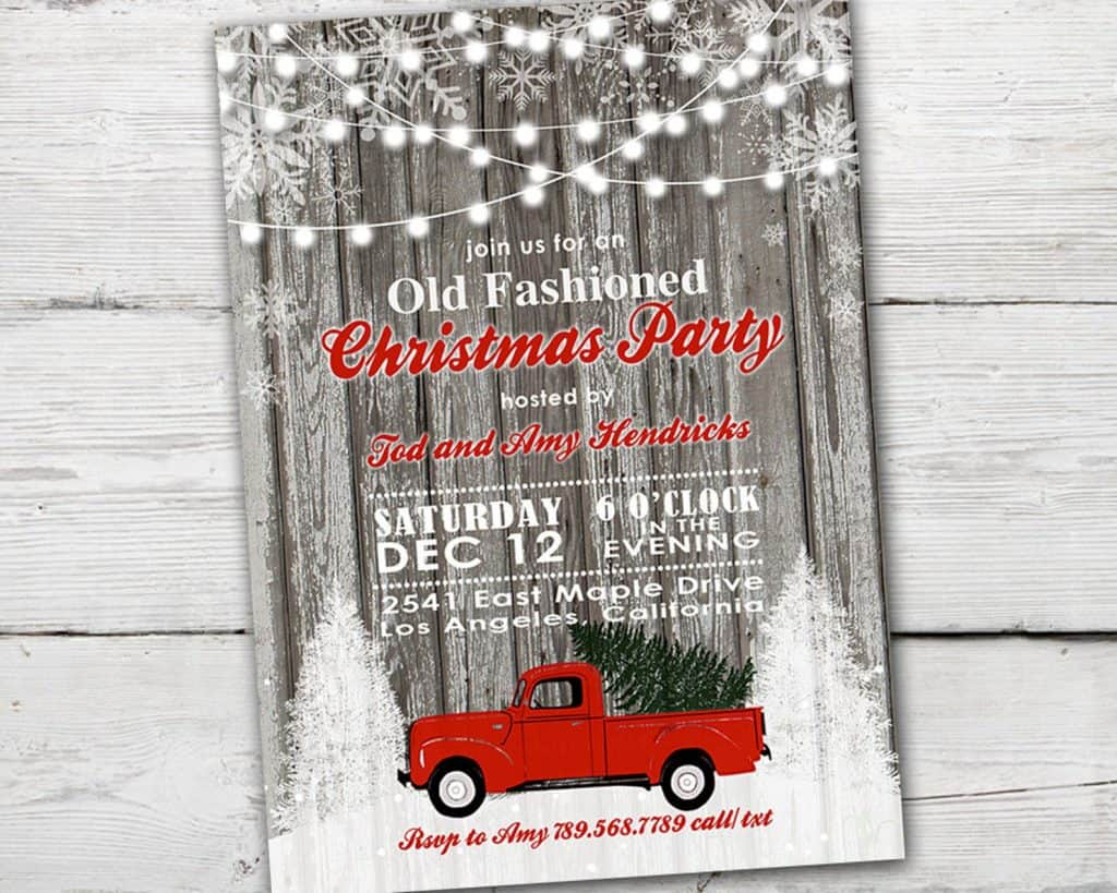 Red Truck Christmas Party Invitation (partymonkey). Country Christmas Party.