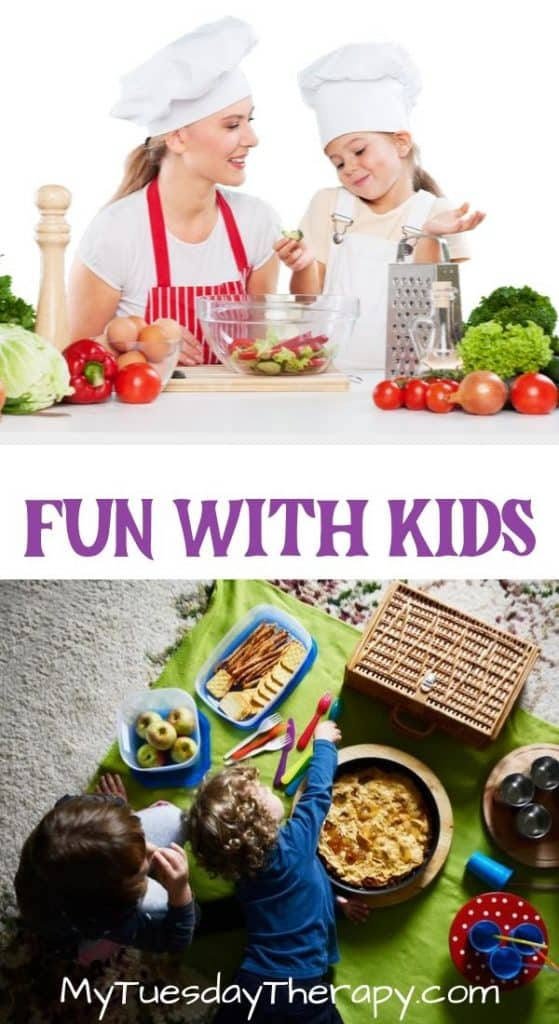Fun With Kids. Cook with kids, have a picnic indoors,
