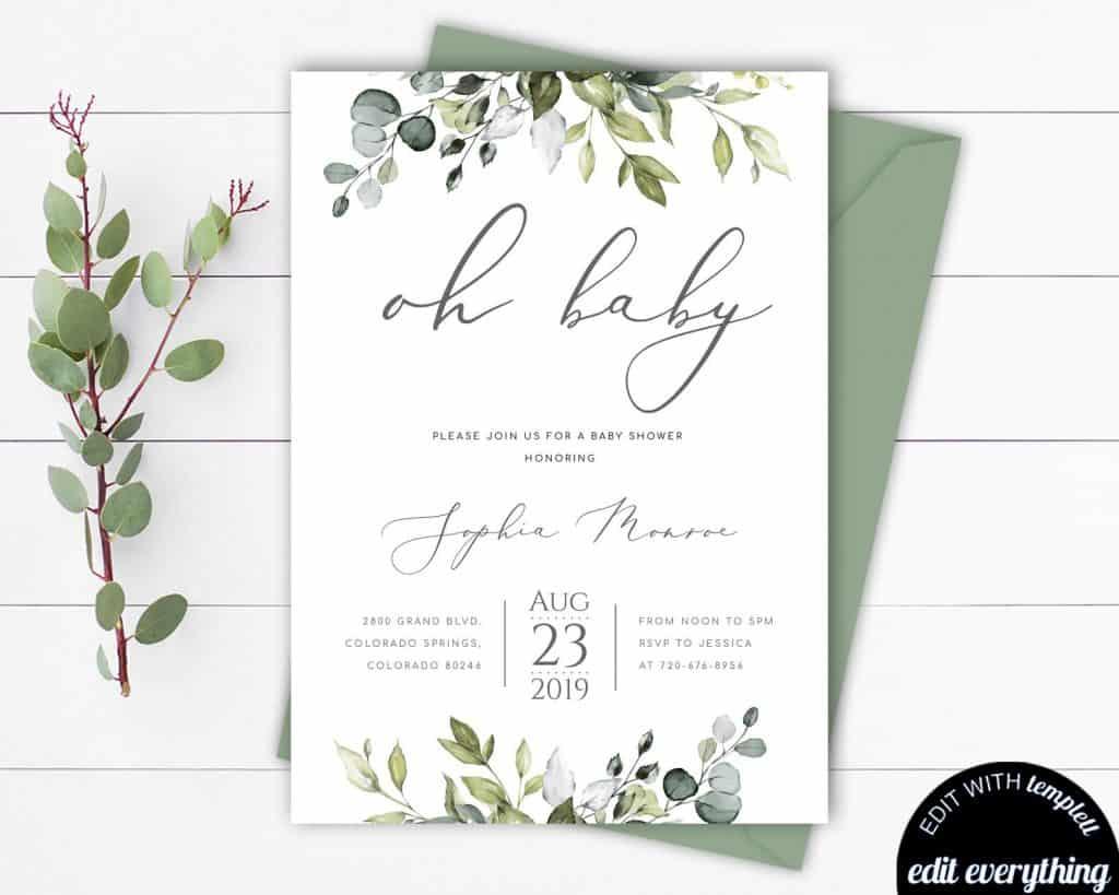 Greenery Baby Shower Invitation. Great for gender neutral baby showers, classy style works for boys and girls. (mintedmemories)