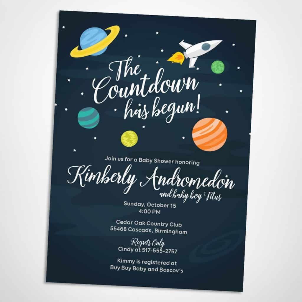 Out of This World Baby Shower Invitation. The Countdown Has Begun (saralukecreative)