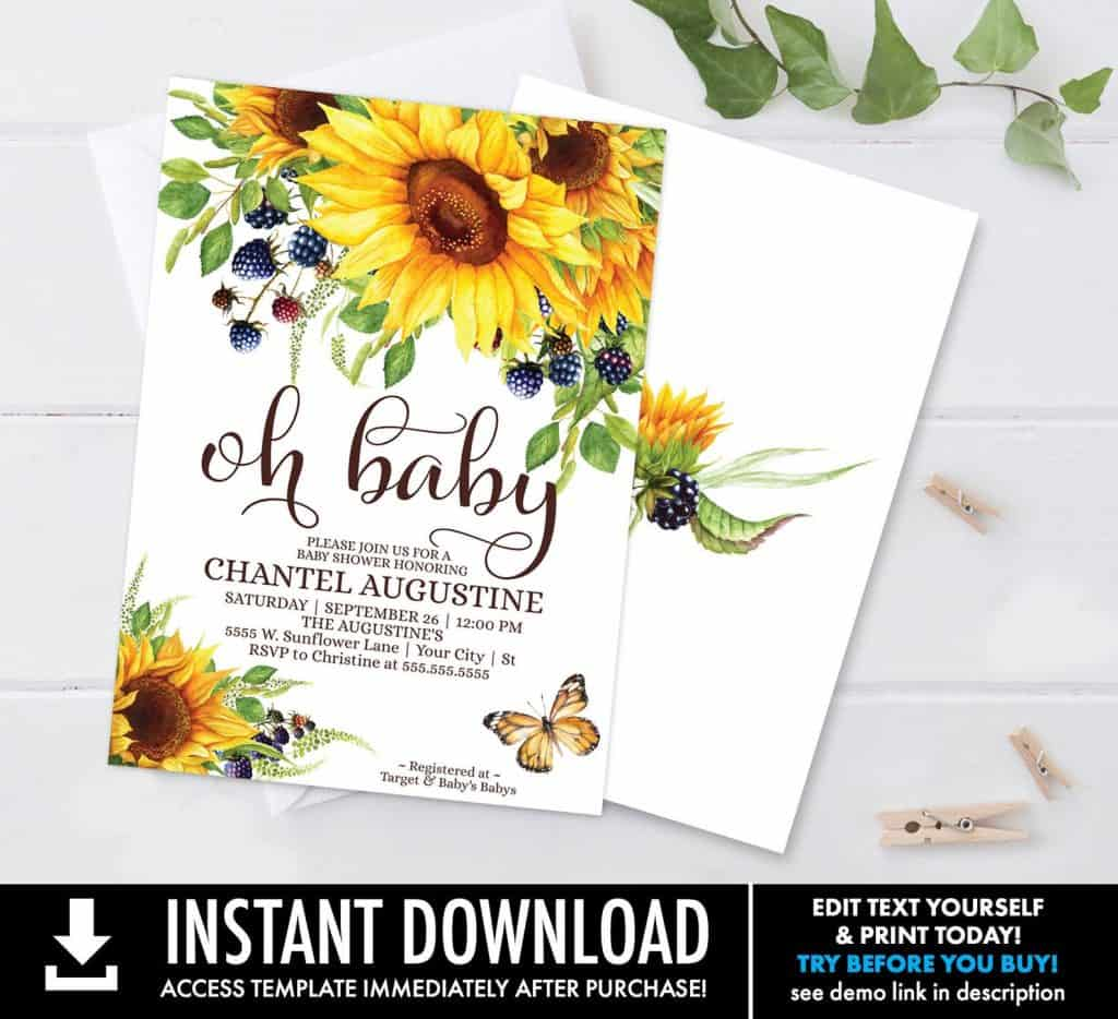 Sunflower Baby Shower Invitation (simplyeverydayme)