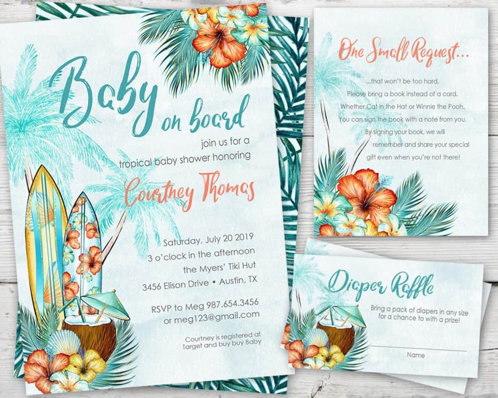 Baby On Board. Tropical Baby Shower Invitation (partymonkey)