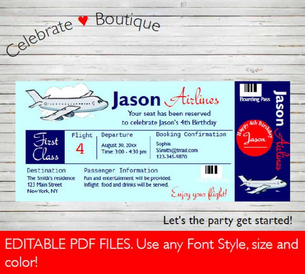 Airplane Party Invitation. A cool party theme for boys 8 years old. (celebrateboutique)