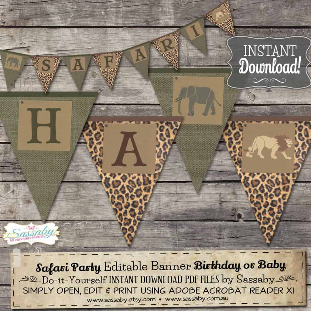 Jungle/Safari Party Banner. A fun way to decorate a Safari themed party for boys (sassabyparties)