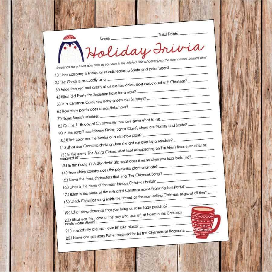 Holiday Trivia Game. Fun, easy Christmas party game. (adorablyallie)