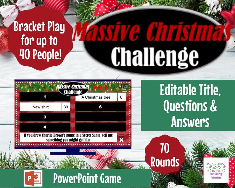 Massive Christmas Challenge Party Game, power point (Pamspartyprintables)