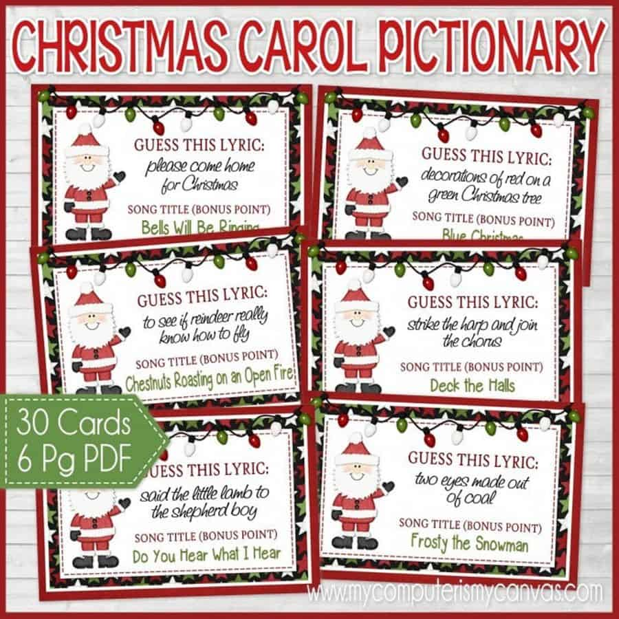 Christamas Carol Pictionary. Awesome Christmas party game for family. (mycomputerismycanvas)