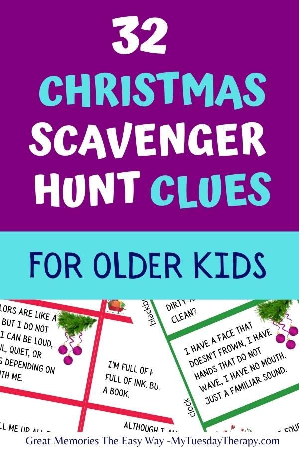 Christmas scavenger hunt clues.