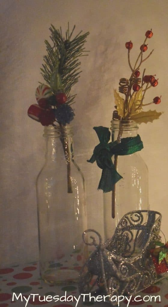 DIY Christmas decorations on budget. Vases with twigs.