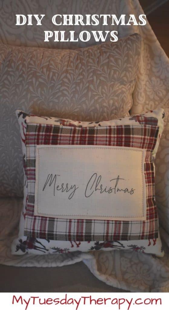 DIY Christmas Pillow Idea. Flannel Christmas pillow.