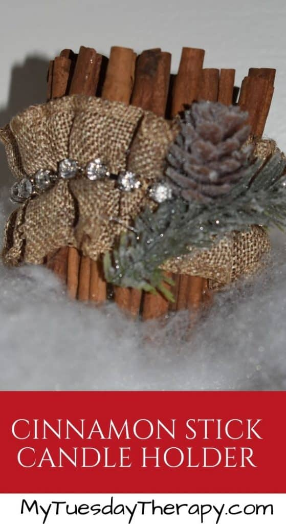 Cinnamon Stick Candle Holder. A fun Christmas decor or gift idea for women or teens.