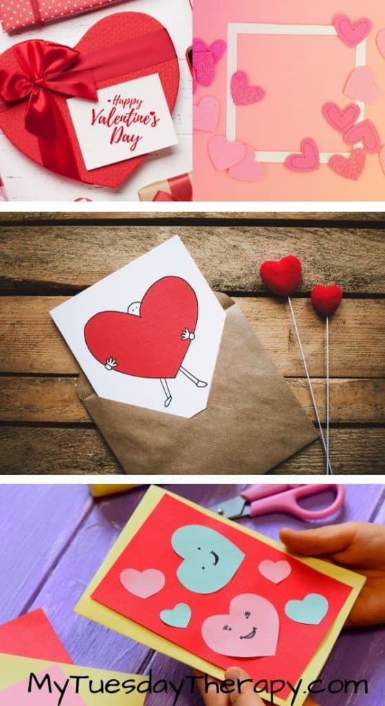Easy DIY Valentines For Kids. Stickman carrying a giant heart, heart frame, heart cutouts