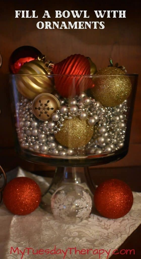 Bowls Filled With Ornaments. DIY Christmas Decor