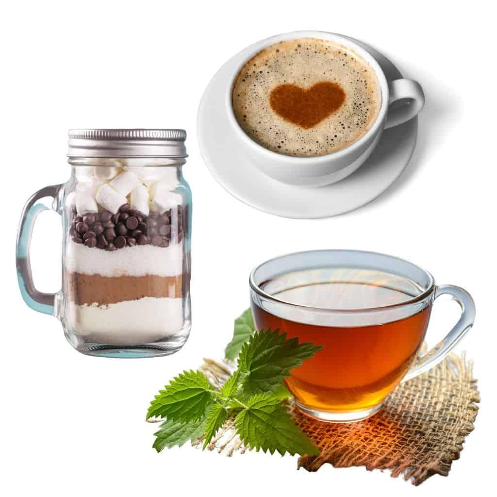 Edible Baby Shower Favors: hot chocolate mix, coffee, tea