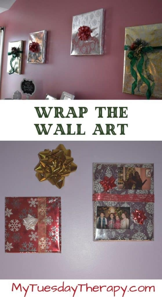 Gift Wrapped Canvas. Easy DIY Christmas Decoration Idea.