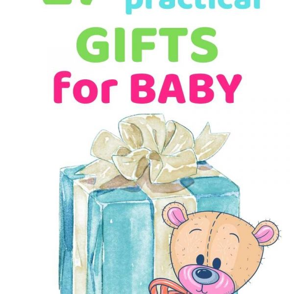 27 sweet, practical gifts for baby. An ice blue wrapped gift. A teddy bear sitting in front of it.