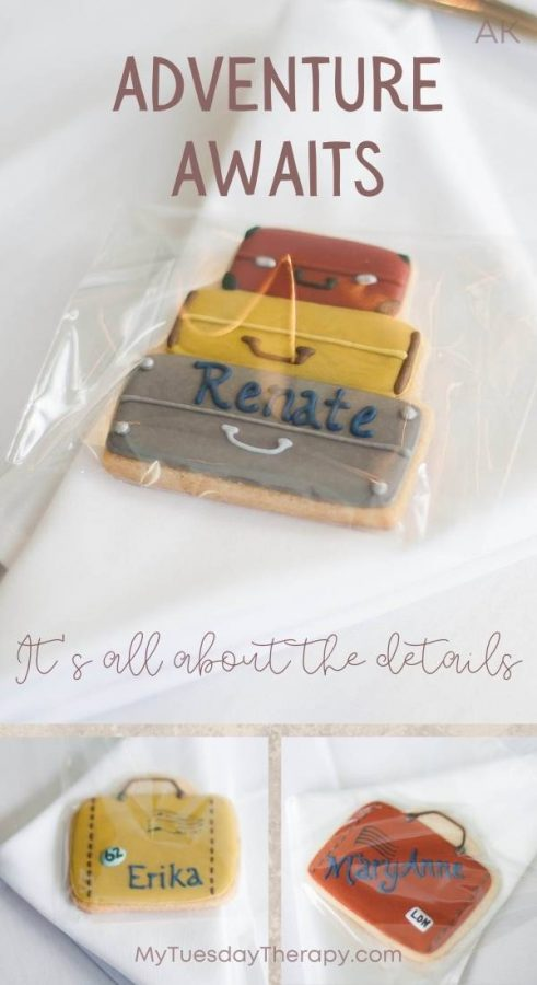 Suitcase cookies in various styles function as place cards and favors.