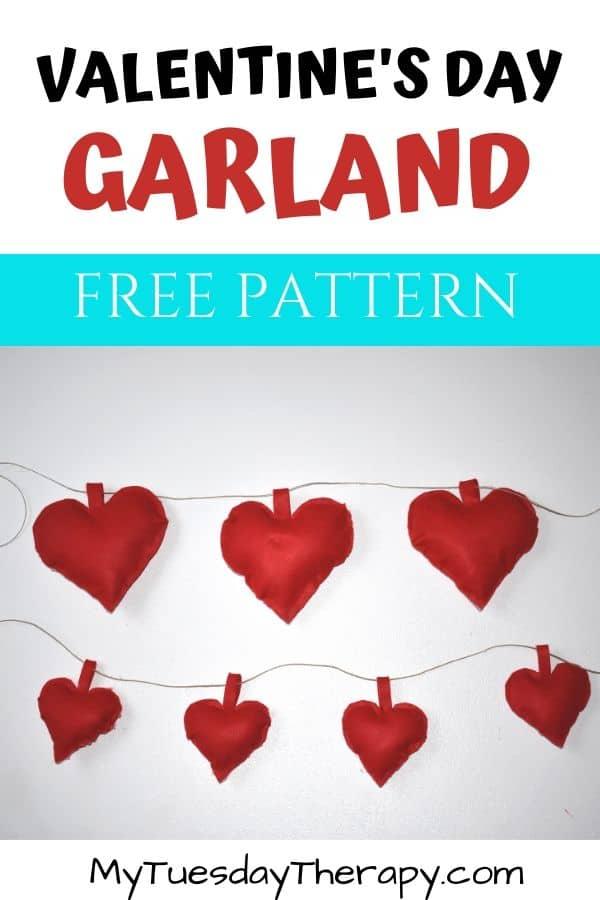 Felt Heart Valentine's Day Garland DIY. Free pattern.