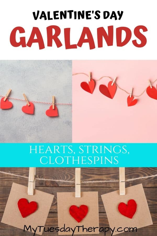 Easy Valentine's Garland: Hearts and Clothespins