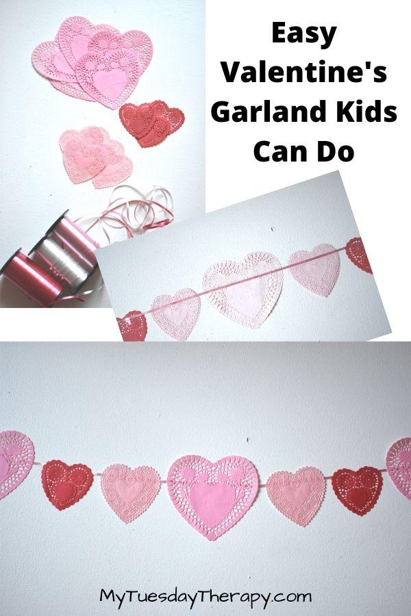 Easy Doily Heart Garland For Kids.
