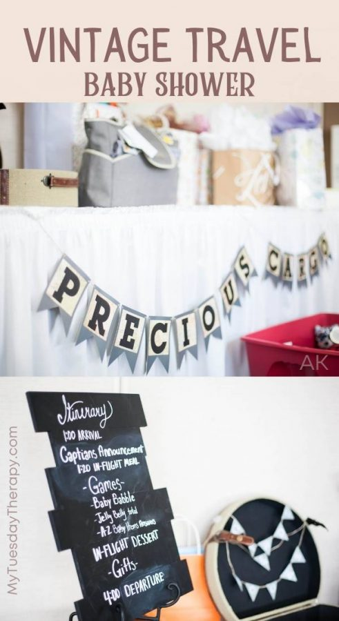Gift table idea for a vintage travel theme baby shower: Precious cargo banner, itinerary (time table for the shower), a suitcase with books and cards banner.